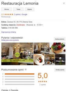 Wizytówka Google Restauracji Lemonia