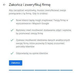 Weryfikacja firmy w Google Moja Firma