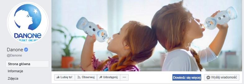 Cover photo i przycisk na profilu firmowym na Facebooku firmy Danone