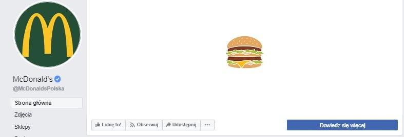 Przycisk na profilu firmowym na Facebooku firmy McDonald's