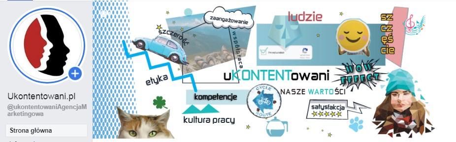 Zdjęcie profilowe i zdjęcie w tle na profilu firmowym firmy uKONTENTowani.pl na Facebooku