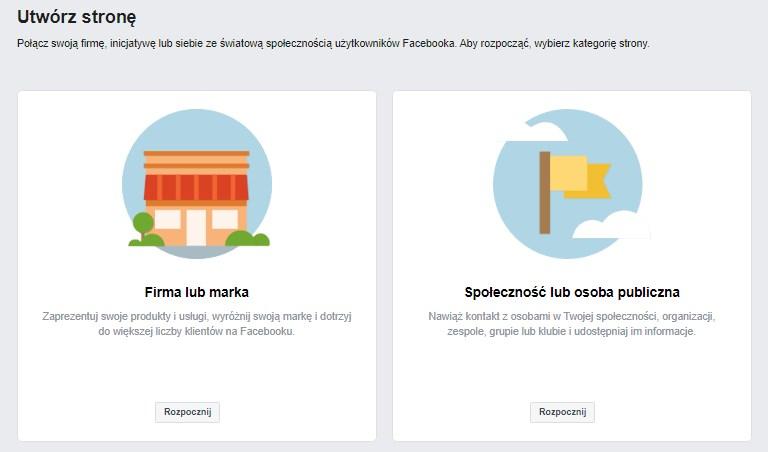 Wybór między firmą, a społecznością podczas zakładania strony na Facebooku.