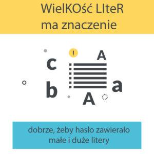 Używaj małych i wielkich liter, aby hasło było bezpieczne