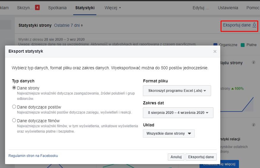 Eksportowanie danych na Facebooku