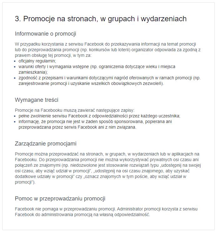Fragment regulaminu Facebooka dotyczący promocji - konkursów na Facebooku