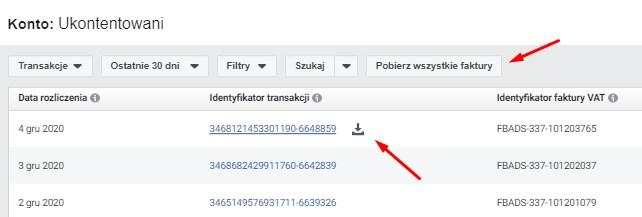 Dwa sposoby na pobieranie faktur z Facebooka