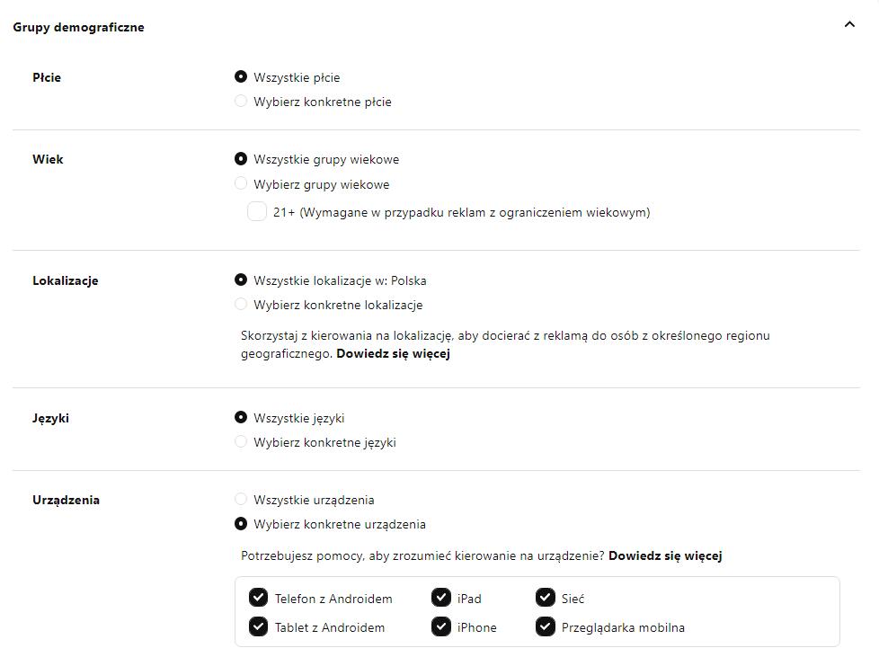 Targetowanie na Pinterest - grupy demograficzne